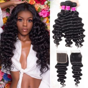 Indian Loose Deep Wave 3 Bundles With Lace Closure