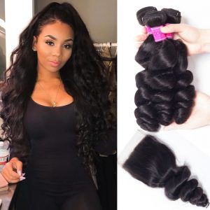 Indian Loose Wave Virgin Human Hair With Lace Closure
