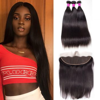 Indian Remy Straight Hair 3 Bundles Weft With Lace Frontal