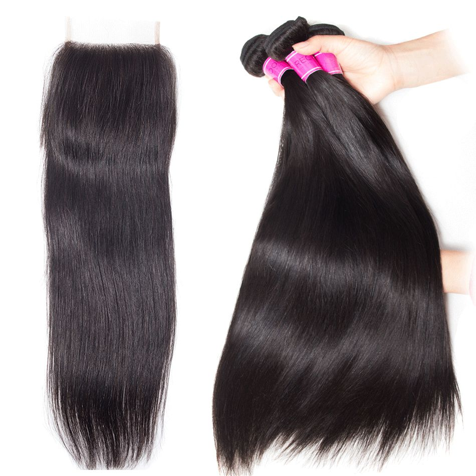 Indian Straight Virgin Hair Cheap Bundle Deals With Closure