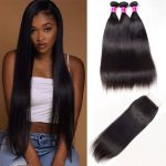 Indian Straight Virgin Human Hair with Lace Closure