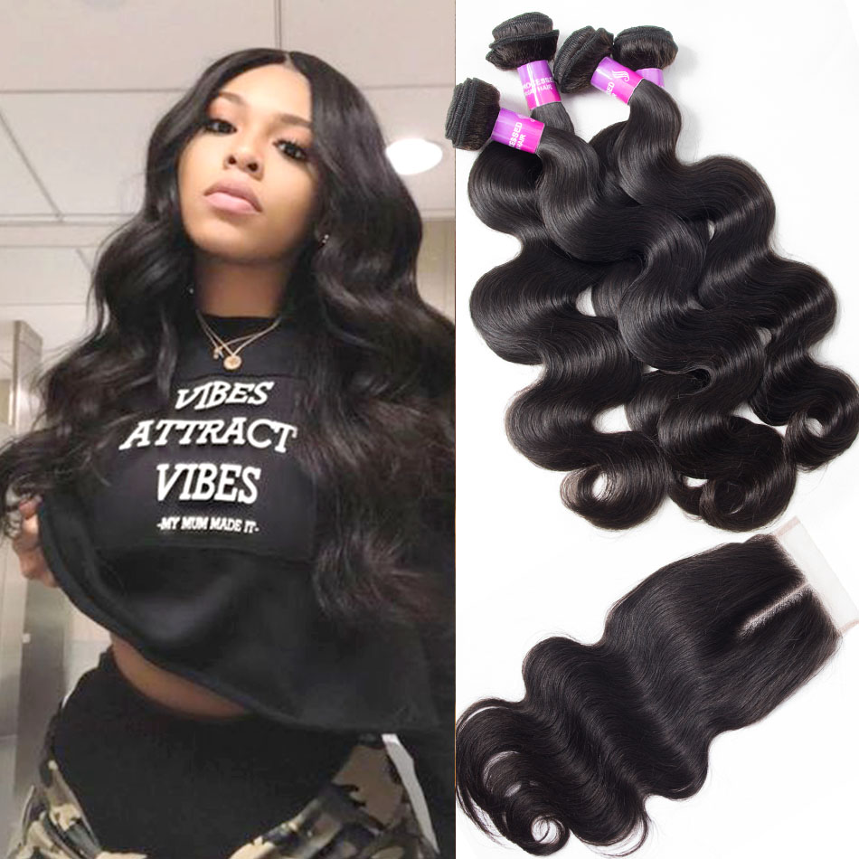 Indian Virgin Body Wave Hair 4 Bundles With Lace Closure