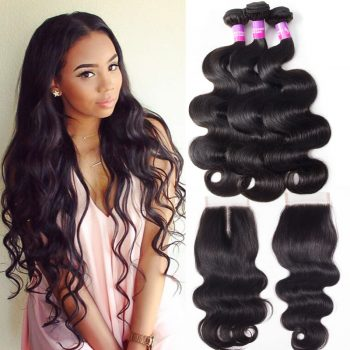 Indian Virgin Body Wave Hair Bundles With Lace Closure