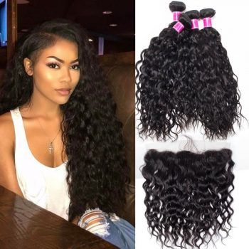 Indian Virgin Wet And Wavy Hair With Lace Frontal Closure