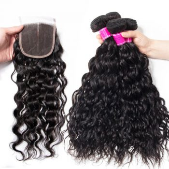 Indian Wet And Wavy Virgin Hair 4 Bundles With Lace Closure