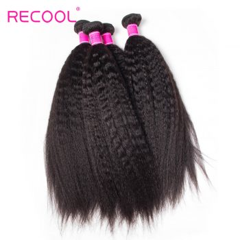 Recool Brazilian Virgin Hair Kinky Straight Hair 10 Bundles High Quality Virgin Human Hair Yaki Straight Hair