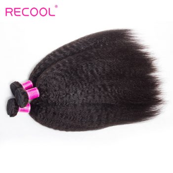 Kinky Straight Hair Indian Virgin Hair 4 Bundles Recool 8A Grade Virgin Human Hair Yaki Straight Hair