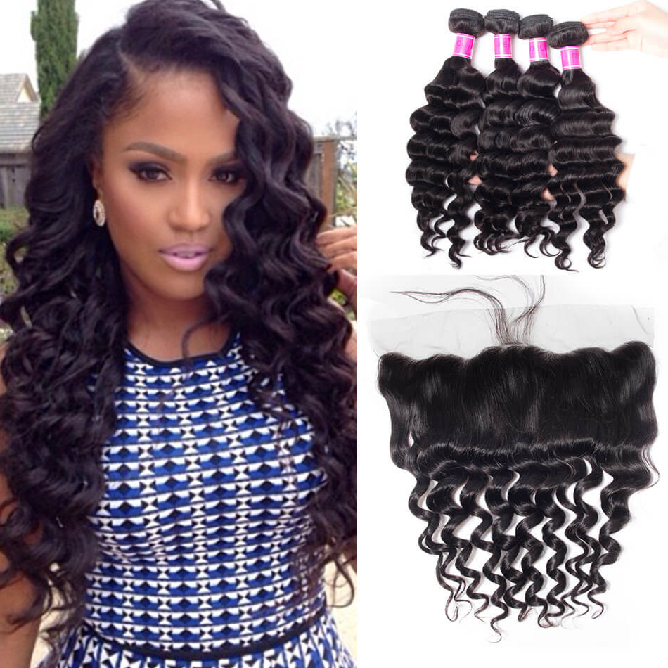 Malaysian 4 Bundles Loose Wave Hair Bundles with Frontal