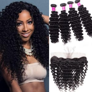 Malaysian Deep Wave Bundles With Lace Frontal Deals