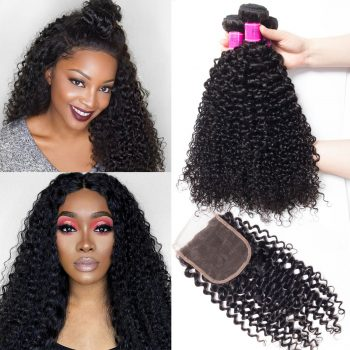 Malaysian Human Hair Curly Wave 4 Bundles with Closure