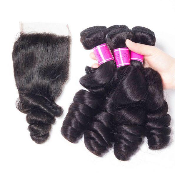 Malaysian Loose Wave Hair 4 Bundles With Lace Closure