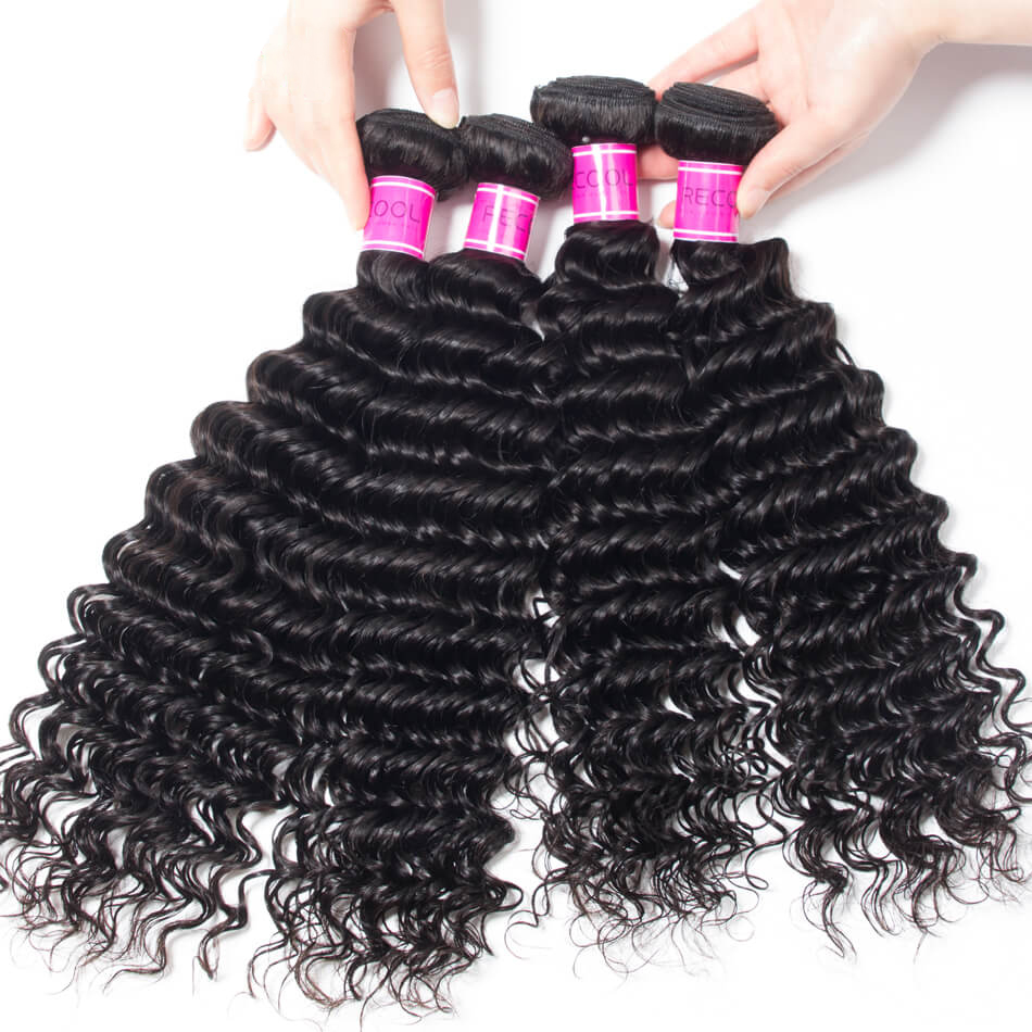 Malaysian Virgin Deep Wave Curly Hair Weave 4 Bundles