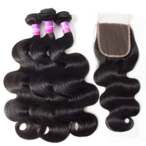 Malaysian Virgin Hair Body Wave 3 Bundles With Closure