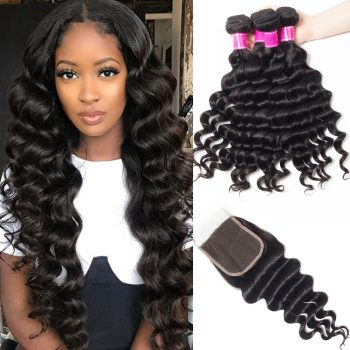 Malaysian Virgin Hair Loose Deep Wave 4 Bundles with Closure