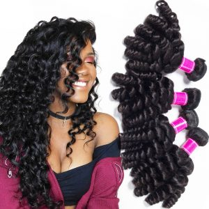 Malaysian virgin human Hair Bundles Bouncy Curly 3 Bundles