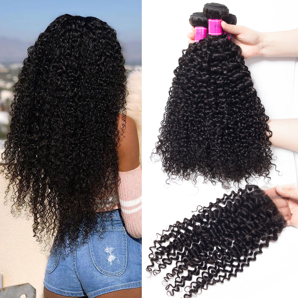 Peruvian Curly Wave Hair 3 Bundles With Lace Closure
