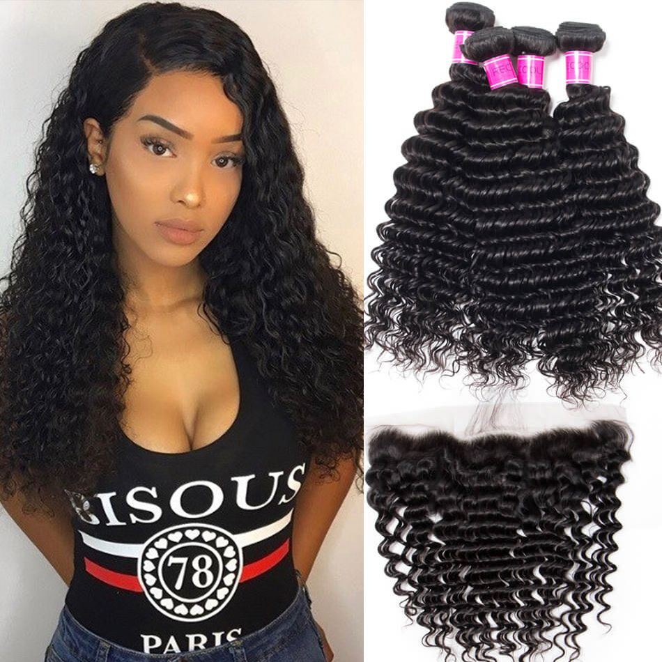 Peruvian Deep Wave 4 Bundles With Lace Frontal Closure