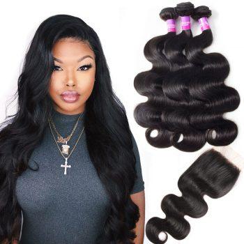 Peruvian Hair Body Wave 3 Bundles With Closure Sale
