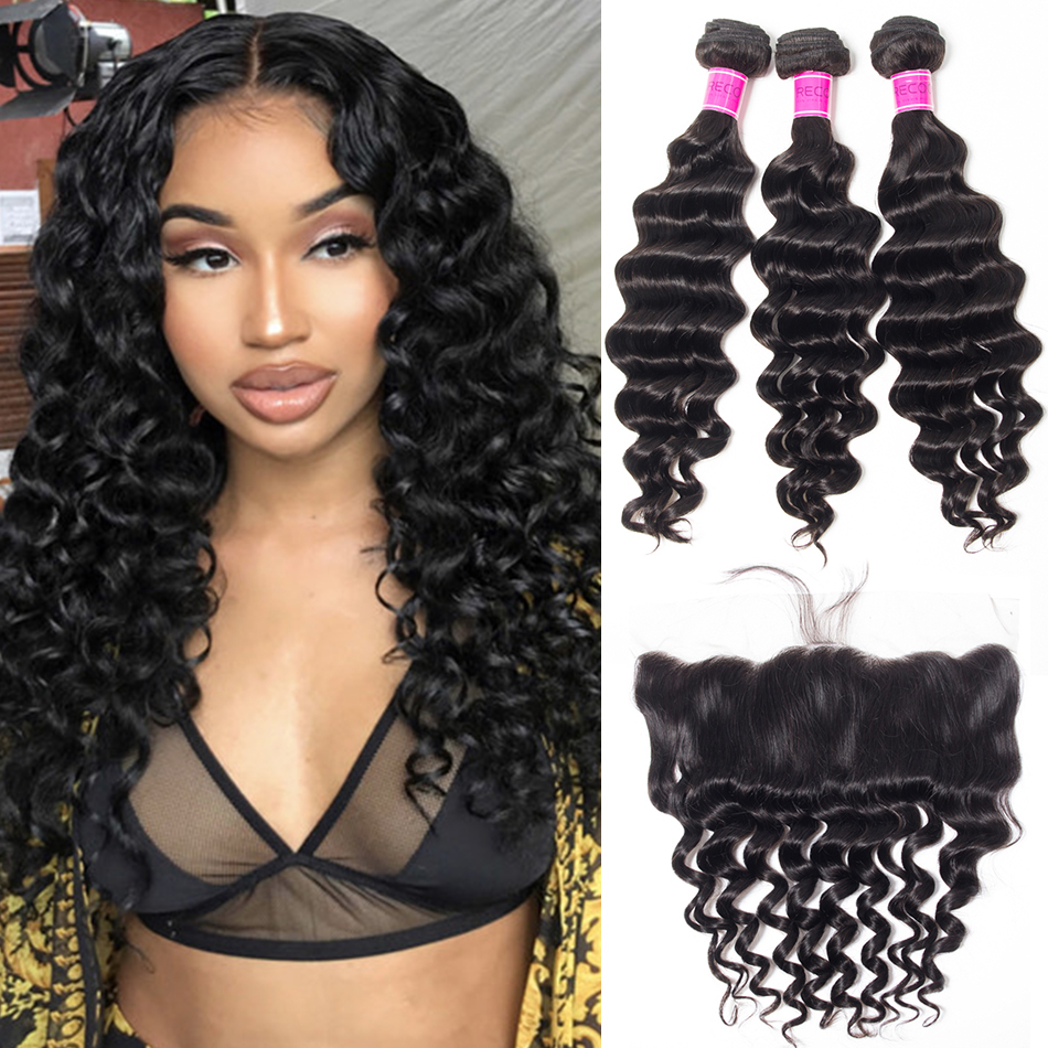 Peruvian Loose Deep Bundles With Lace Frontal Sale