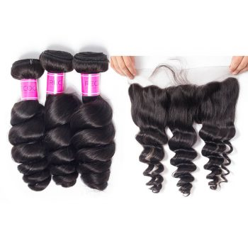 Peruvian Loose Deep Wave Virgin Hair 3 Bundles With Frontal