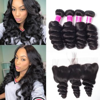 Peruvian Loose Wave 4 Bundles With Lace Frontal 13X4 Ear To Ear Closure