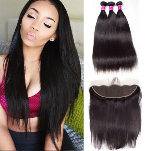 Peruvian Straight Virgin Hair 3 Bundles With Frontal