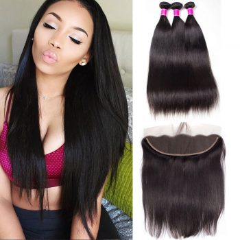 Peruvian Straight Virgin Hair 3 Bundles With Frontal