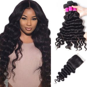 Peruvian Virgin Hair 3 Bundles With Loose Deep Wave Closure