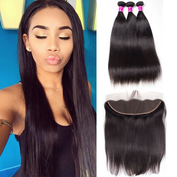 Peruvian-Virgin-Hair-Straight-4-Bundles-With-Frontal