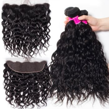 Peruvian Wet and Wavy Bundles With Frontal Sale