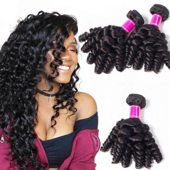 Peruvian human Hair Bundles Funmi Curly 3 Bundles