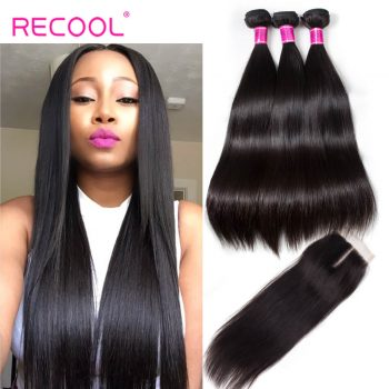 RECOOL-Recool Hair Malaysian Straight Hair 4 Bundles With Closure 8A Remy Virgin Human Hair Bundles With Closure