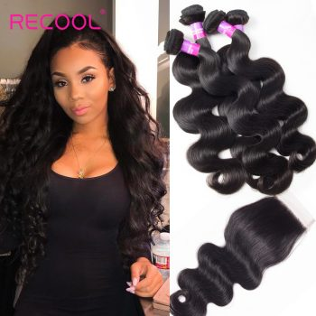 Recool Hair Peruvian Body Wave Hair 4 Bundles With Closure 8A Grade Virgin Human Hair Bundles With Closure