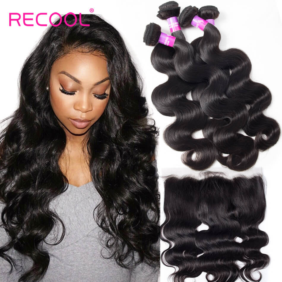 Recool Hair Lace Frontal Closure With Bundles Malaysian Body Wave Hair 4 Bundles With Frontal 8A Virgin Human Hair