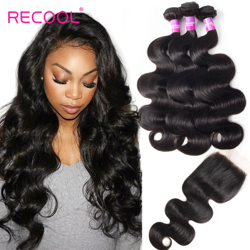 Peruvian Virgin Hair Body Wave 3 Bundles With Closure Recool Hair 8A Grade Human Hair With Closure For Sale