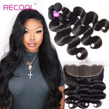 Recool Hair 8A 13X4 Ear To Ear Lace Frontal Closure With 4 Bundles Indian Body Wave 100% unprocessed Virgin Human Hair 4 Bundles With Lace Frontal Closure