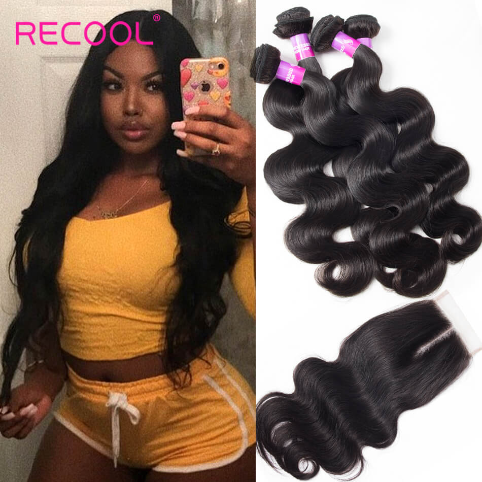 Raw Indian Hair Body Wave 4 Bundles With Closure Recool Hair 8A Grade Virgin Human Hair With Closure