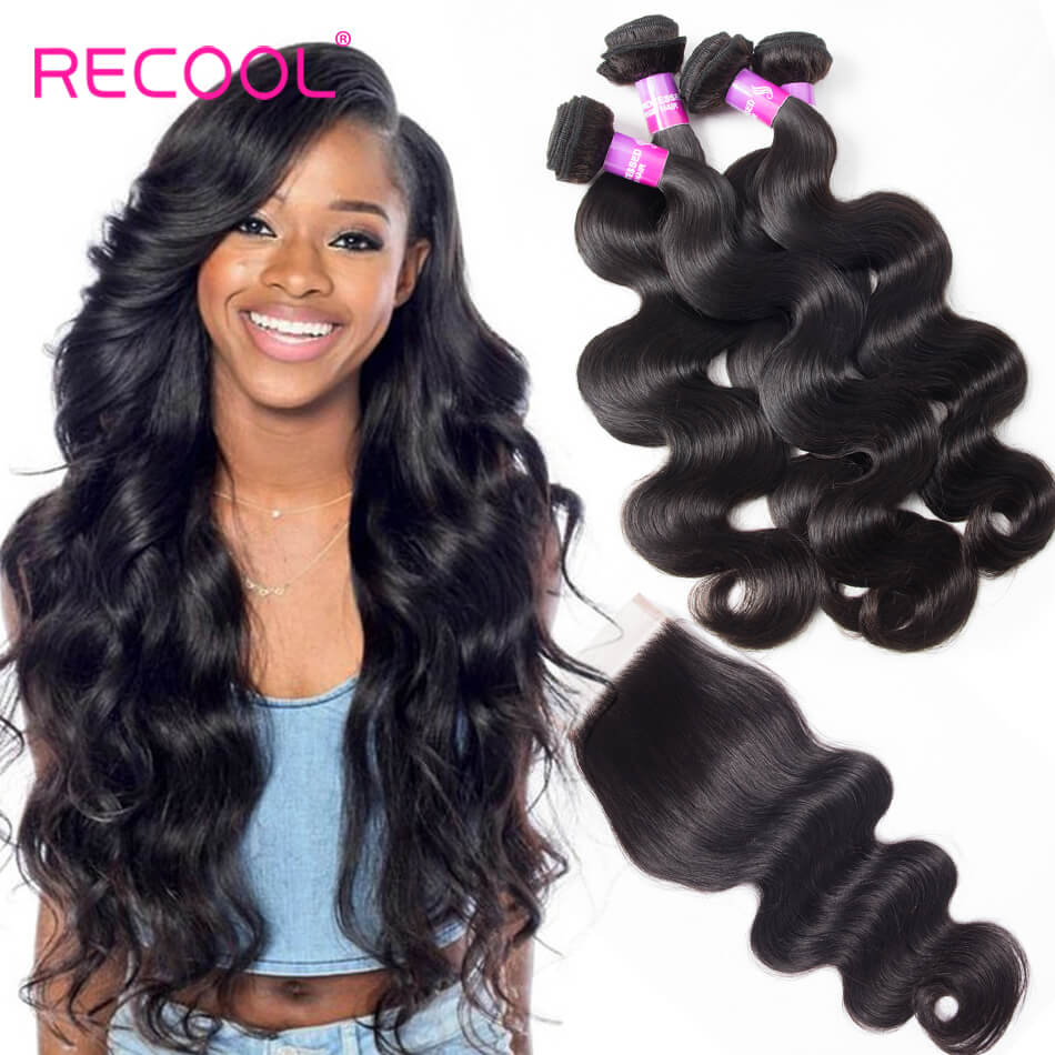 Malaysian Virgin Hair Body Wave 4 Bundles With Closure Recool Hair 8A Grade Human Hair With Closure For Sale