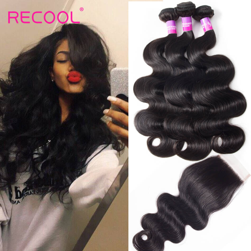 Malaysian Hair Body Wave 3 Bundles With Closure Recool Hair 8A Grade Virgin Human Hair With Closure
