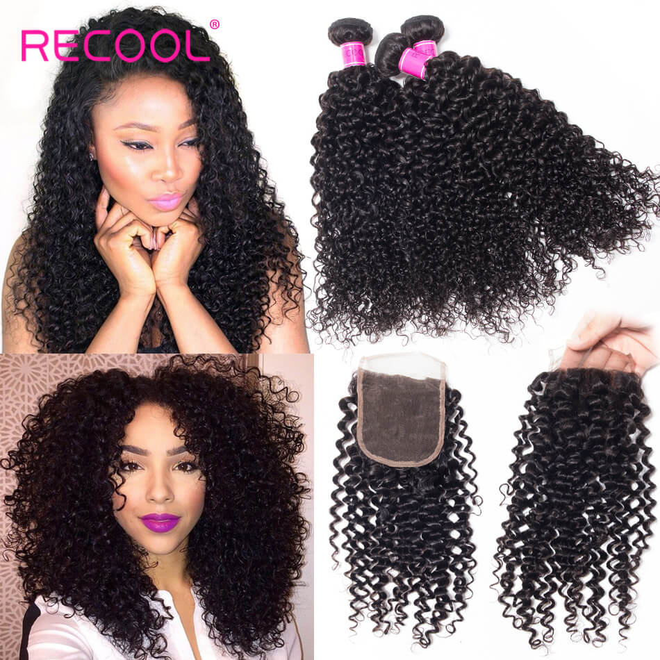 Recool Peruvian Curly Virgin Hair With Closure 100% Human Hair Bundles With Closure Jerry Curly
