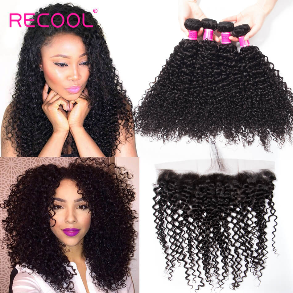 Recool Hair 4PCS Virgin Indian Unprocessed Curly Wave Hair With Lace Frontal Closure Indian Deep Wave With Frontal 13x4 Ear To Ear Lace Frontal Closure With Bundles