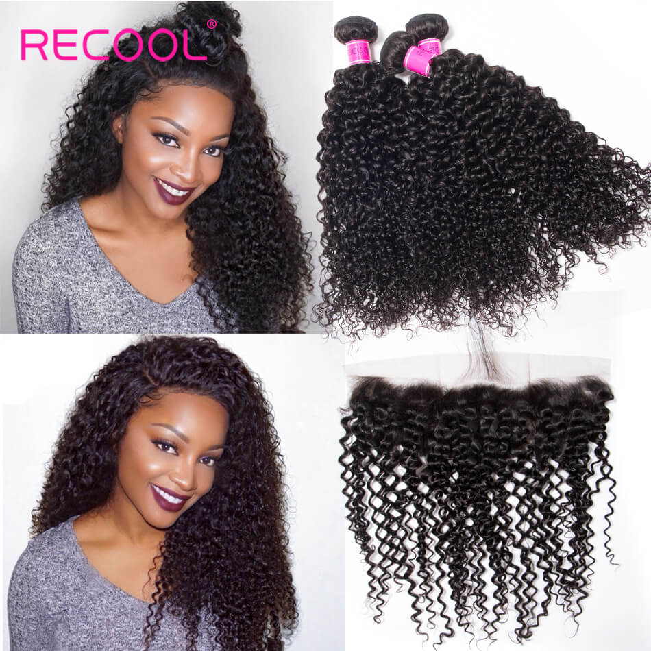 Recool 3 Bundles Indian Curly Virgin Hair With Frontal 100% Virgin Human Hair Bundles With Frontal Jerry Curly
