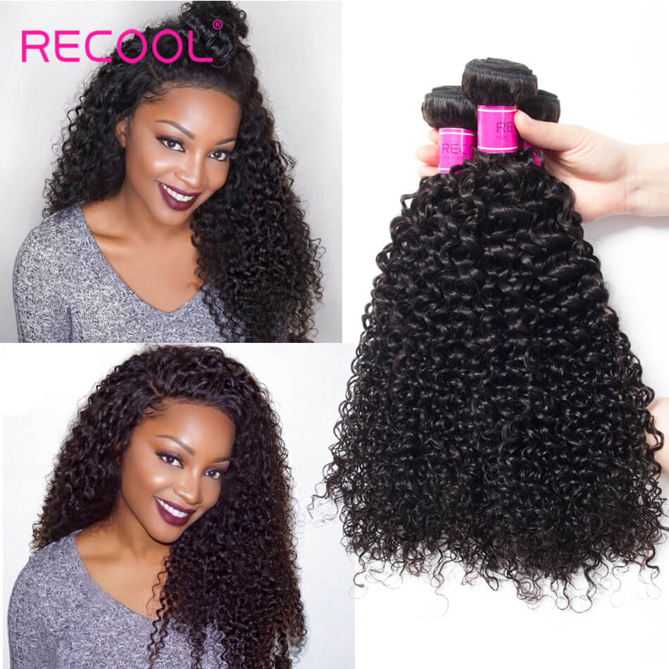 Recool Hair Virgin Hair Curly Weave 4 Bundles Luxury Quality Remy Human Hair Extensions