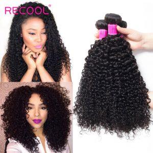 Recool Curly Hair Weave Bundles 8A Grade Virgin Hair 4 Bundles 100% Human Hair Extensions