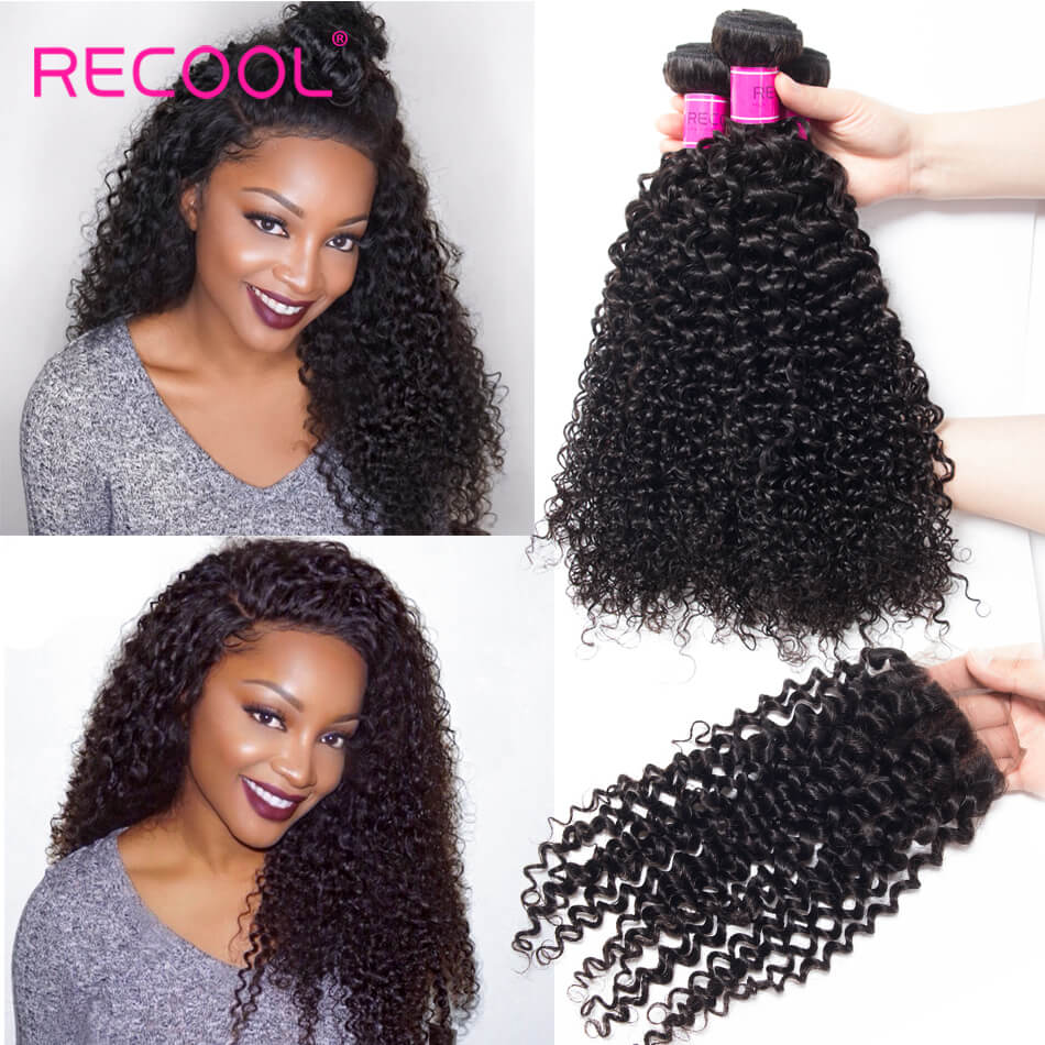 Recool Peruvian Curly Human Hair Bundles With Closure 100% Virgin Hair 3 Bundles With Closure
