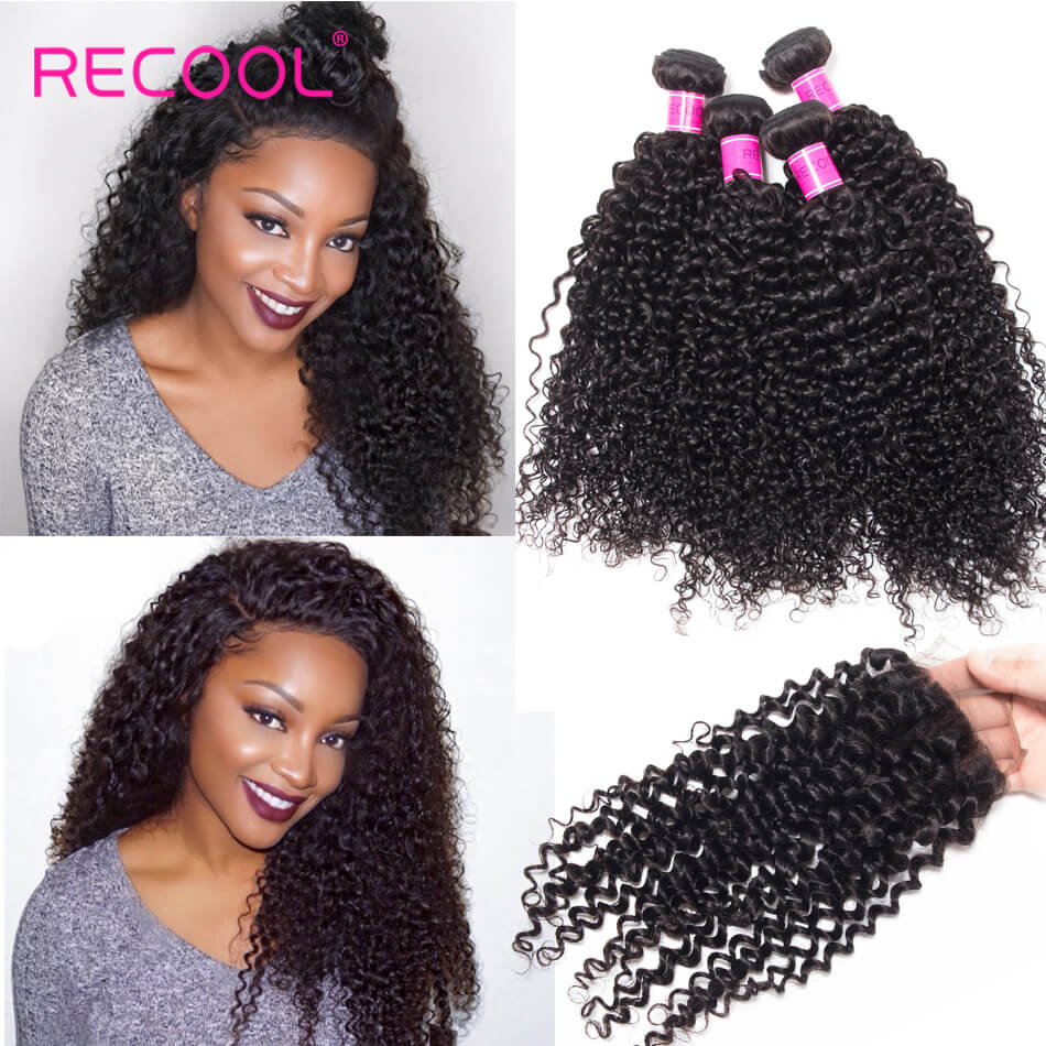 Recool Indian Curly Human Hair Weft With Closure 100% Virgin Human Hair 4 Bundles With Closure