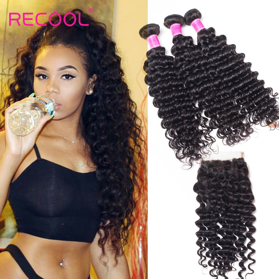 Deep Wave Hair With Closure Recool Hair 3 Bundles Human Hair Weave With Closure Deep High Quality