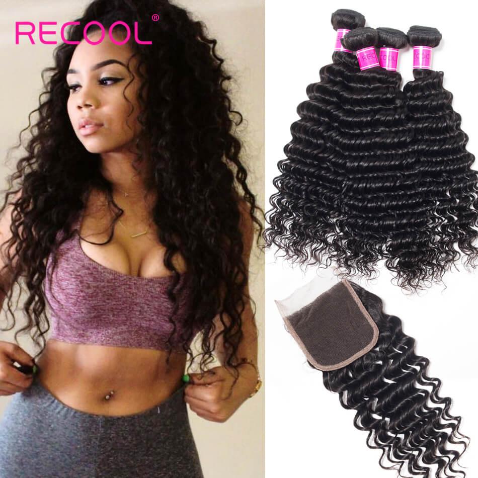 Recool Hair Deep Wave Bundles With Closure 4 Bundles Human Hair Bundles With Closure