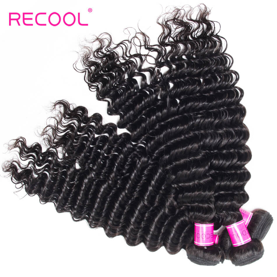 Deep Wave Bundles 8A Grade Recool Hair 3 Bundles Deep Curly Human Hair Weave