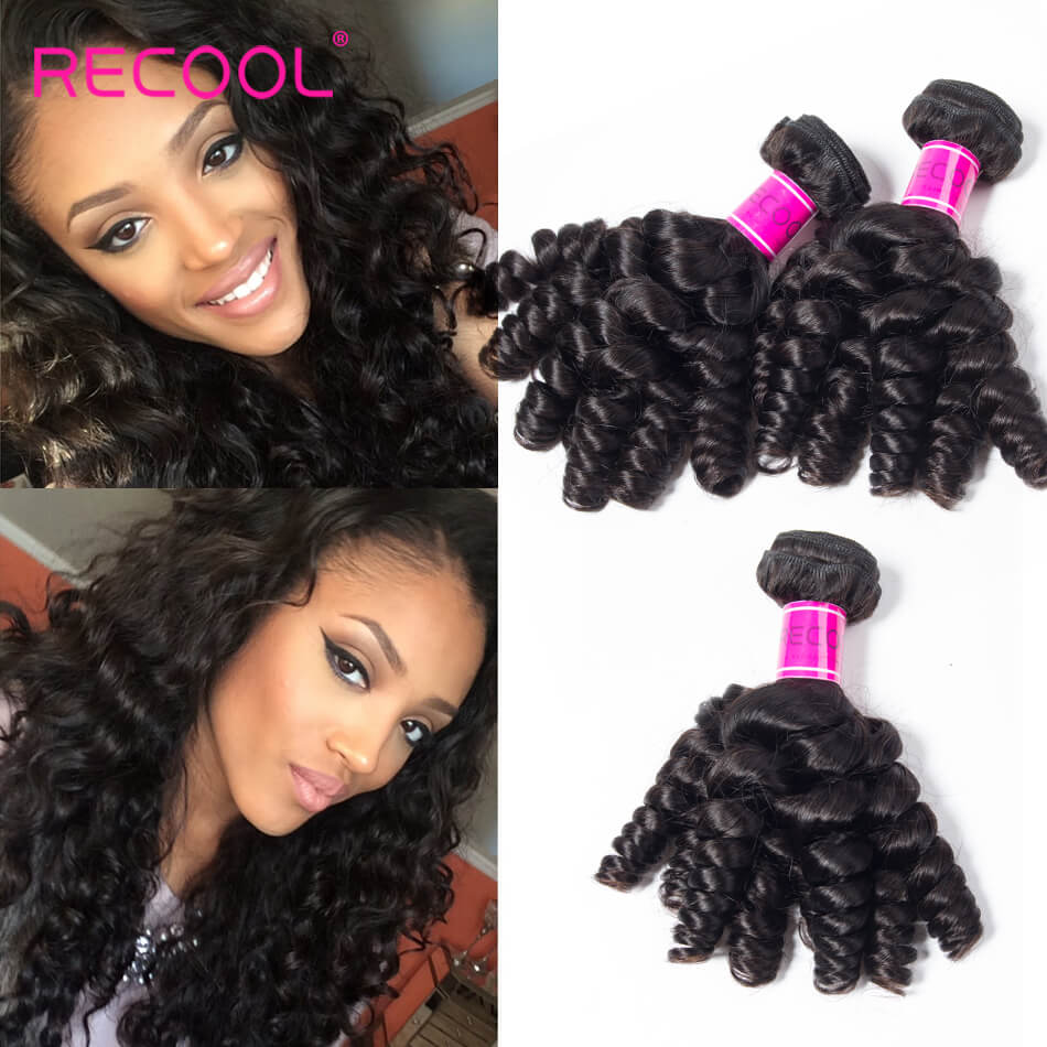 Recool Virgin Hair Funmi Hair Weave 3 Bundles 100% Unprocessed Remy Human Hair Bouncy Curly